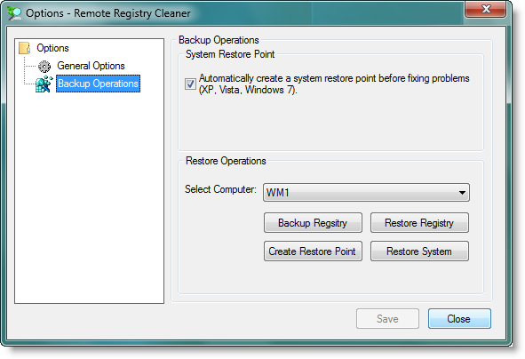 RemoteRegistryCleaner - System Restore Point Creation, Backing Up Registry