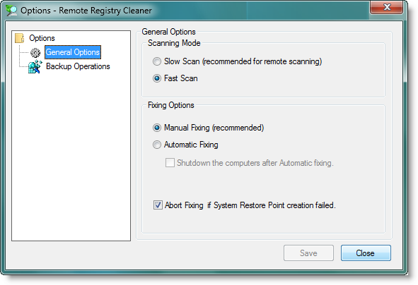RemoteRegistryCleaner - General Options, Slow/Fast Scan, Manual/Automatic Fixing, Shutdown Computers After Scan Operations
